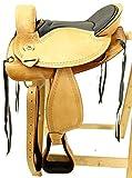 A&M Reitsport Baumloser Wanderreitsattel Alaska Eco aus Büffelleder mit Klettkissen, Größe:17...