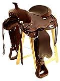 Baumloser Westernsattel OMAHA aus geöltem Büffelleder, Full Quarter, Größe:17 Zoll